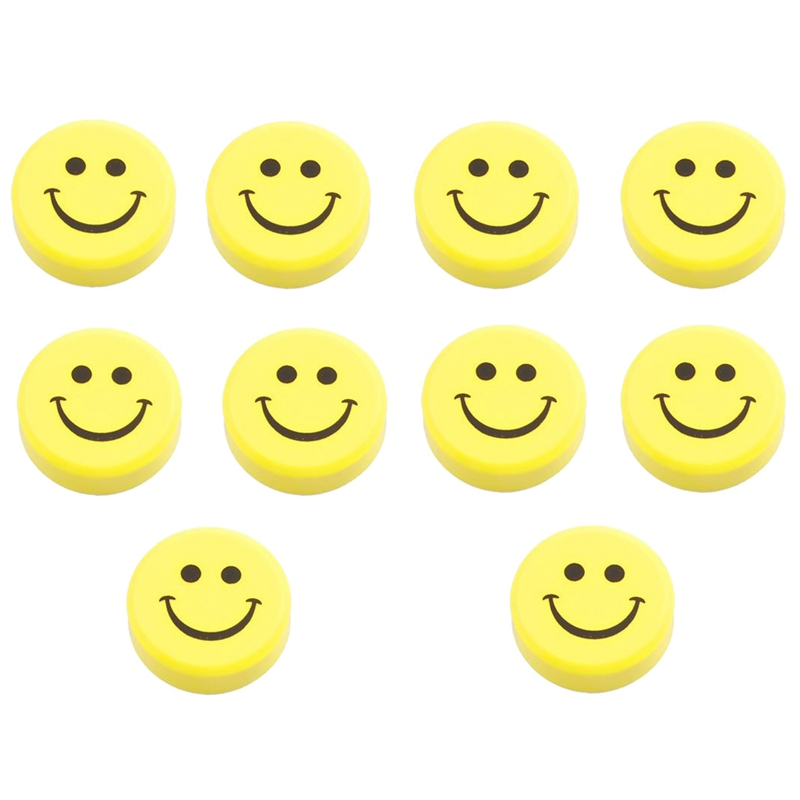 10 Pieces Plastic Yellow Smiley Face Refrigerator Washer Magnets Stickers V8A8
