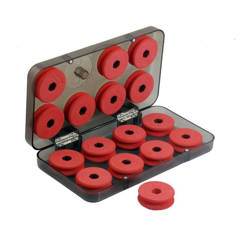 10X(Red Foam Fishing Line X16 Coil Reels with Plastic Box Case S1K7)