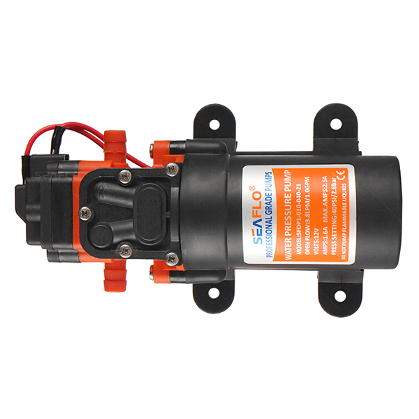 Seaflo 12v water pressure diaphragm pump 38 lpm 10 gpm 40 psi built in 40 psi pressure switch for automatic stopstart self priming allows it to be mounted above tank able to run dry ccuart Image collections