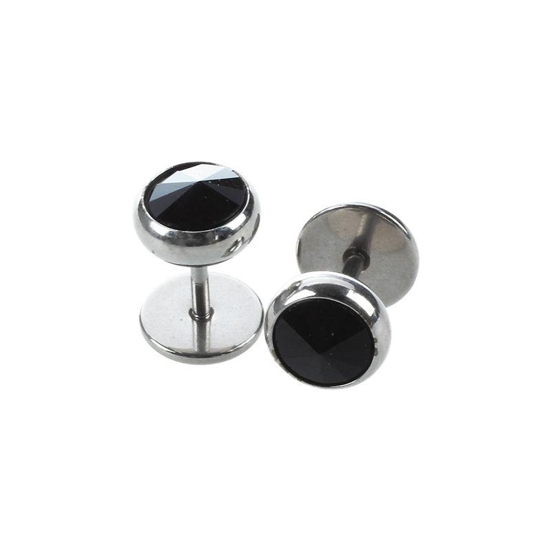 reloj 64009 b6a41 Detalles de Pendientes de acero inoxidable con rhinestone para hombre negro  Arete redondo L1