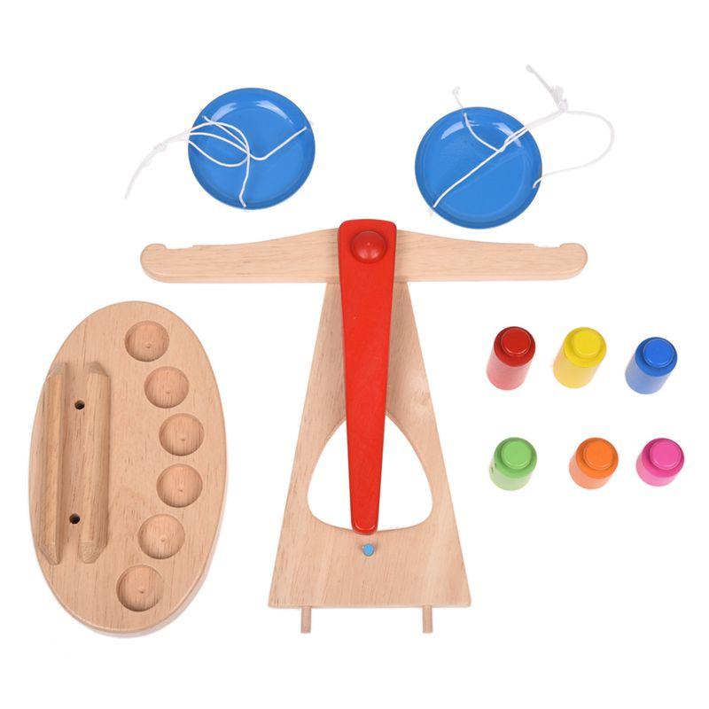 429900044f54 Children Toy Wooden Balance Scale with 6 Weights, Children's ...