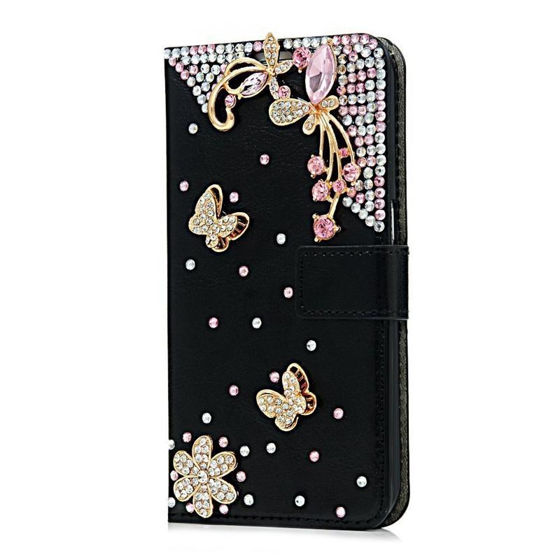3D-Diamond-Black-Cover-Case-2in1-Set-Flip-Stand-PU-Leather-Magnetic-Closu-E7U7