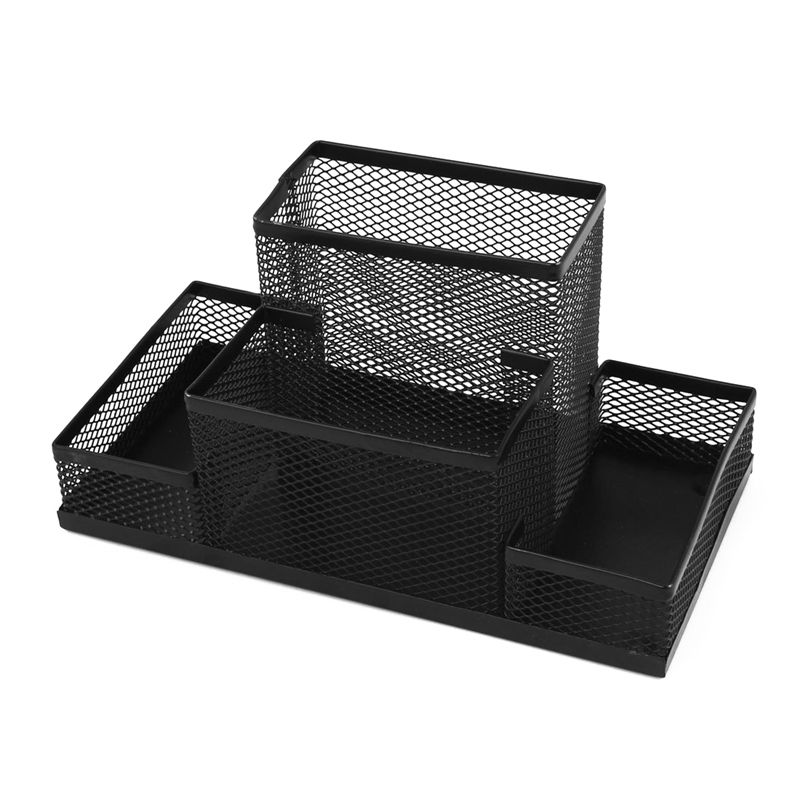 1XDesk Decor 4 Mesh compartments pencil Holder 8.1 Length Black T8R1