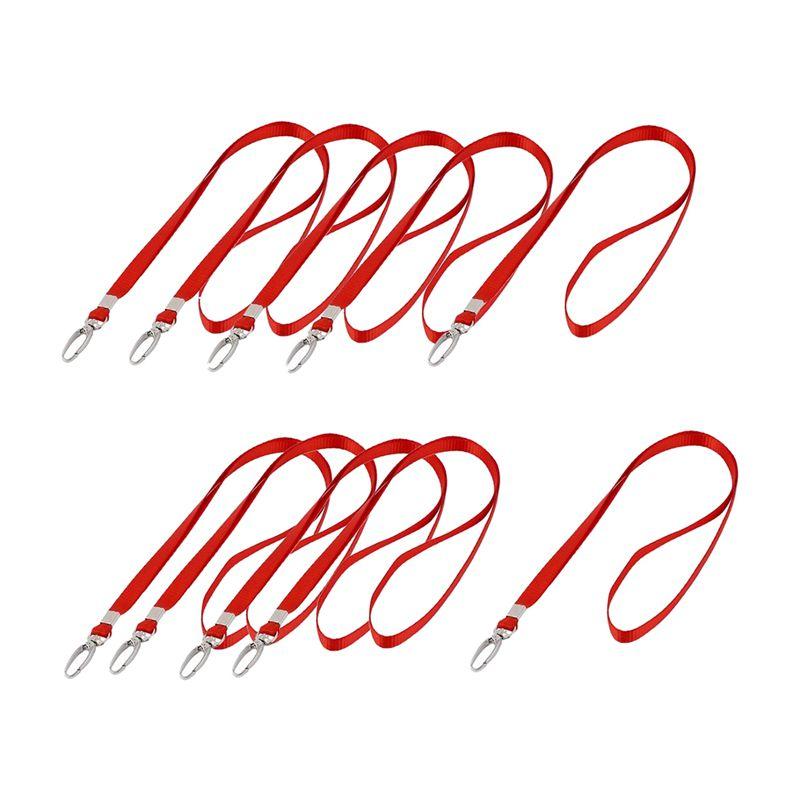 5X-Laccio-da-collo-porta-badge-con-gancio-in-metallo-Rosso-10-pezzi-W7E7