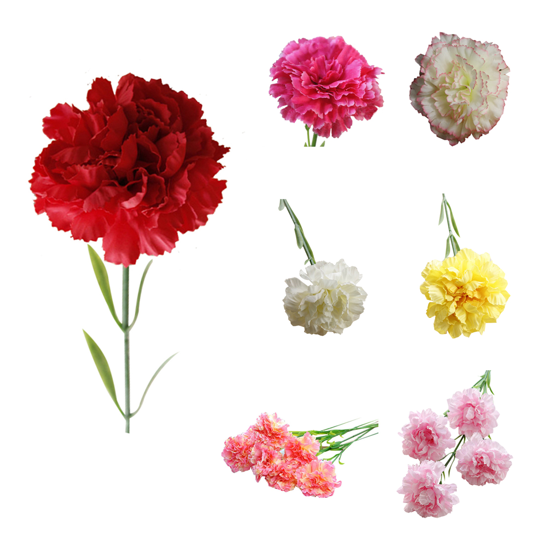 1pc Diy Artificial Carnation Silk Flower Fake Plant For Mothers Day
