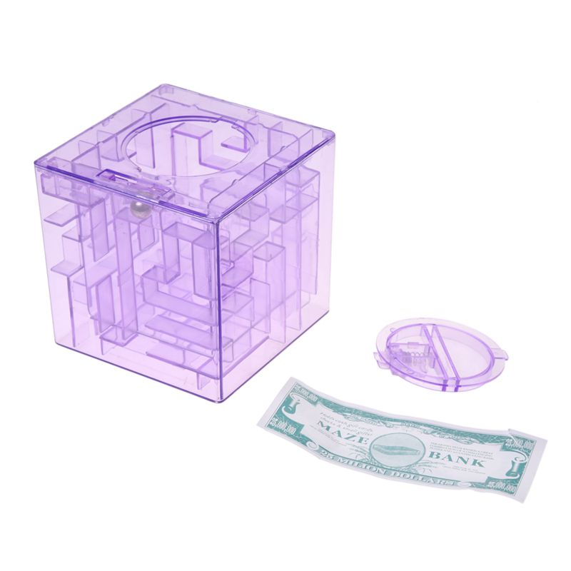 Banco-del-laberinto-de-dinero-cubico-de-plastico-Caja-de-coleccion-de-ahorr-X5D3 miniatura 10