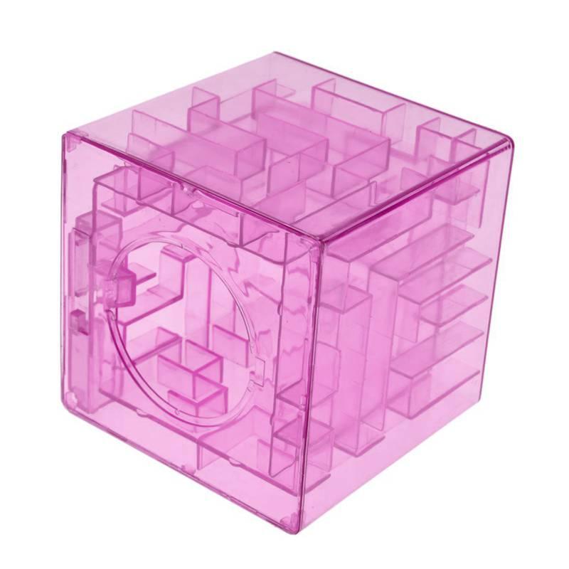 Banco-del-laberinto-de-dinero-cubico-de-plastico-Caja-de-coleccion-de-ahorr-R2W3 miniatura 7