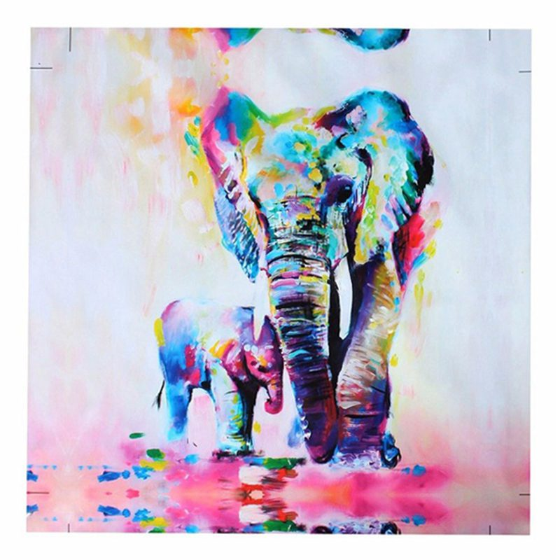 Warm Elephant Oil Painting HD Photo Print Canvas Unframed Watercolor Painting BT