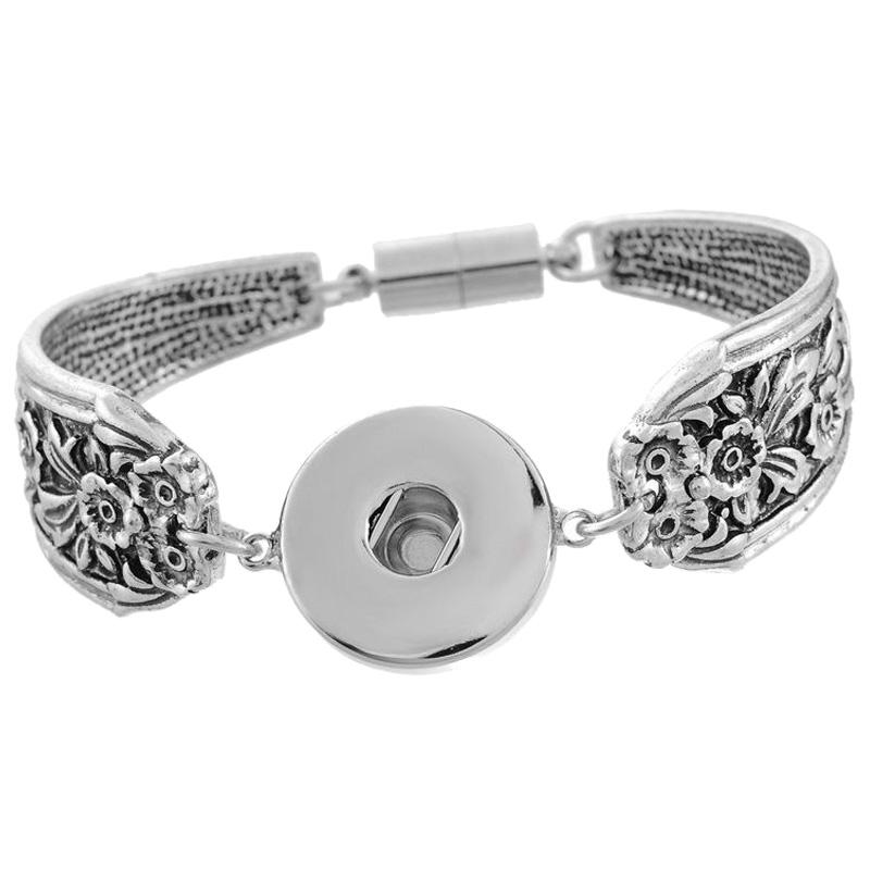 1PC Snap Bracelet Fit Snap Bouton Carve Fleur magnétique Tube Bar Fermoir 19 cm B9D6
