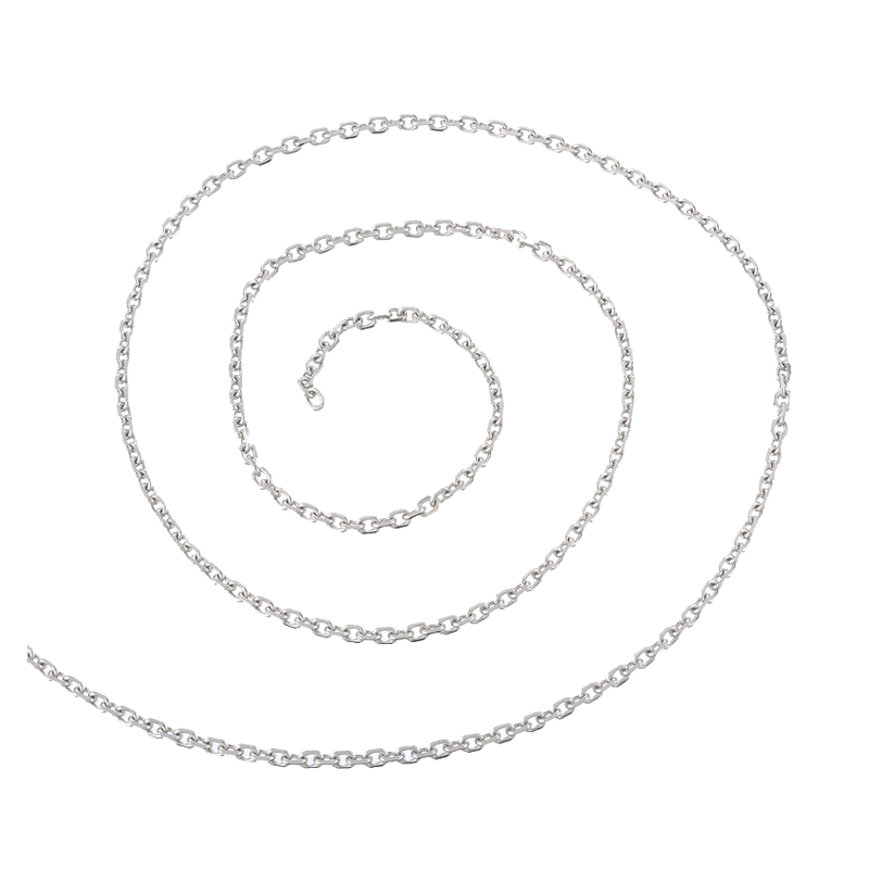 2M-Stainless-Steel-Cuban-Curb-Link-Chain-For-Necklace-Silver-Tone-3-8x3mm-J7Q-PF