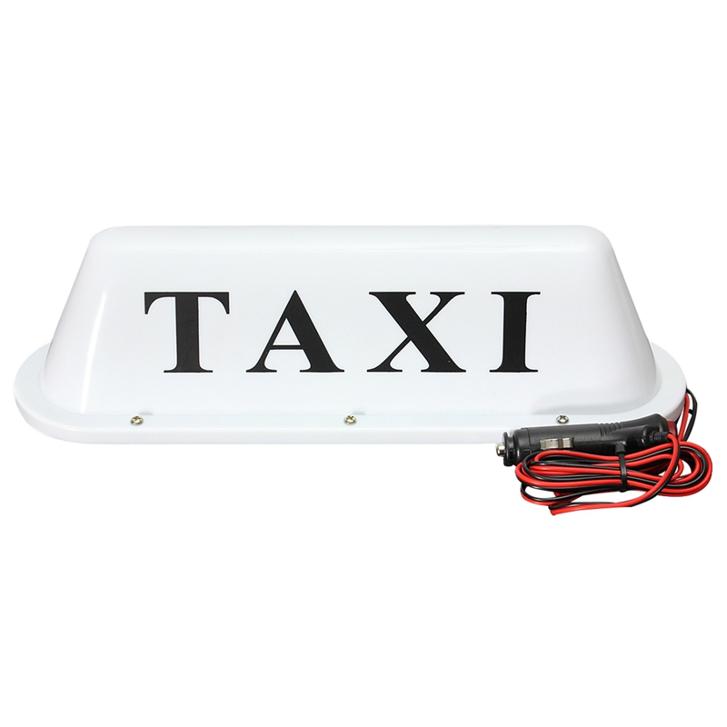 Image Is Loading White Waterproof Taxi Magnetic Base Roof Top Car