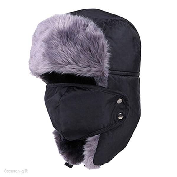 Men-Women-Winter-Trapper-Aviator-Trooper-Earflap-Warm-Ski-Hat-With-Mask-Bl-C7G5