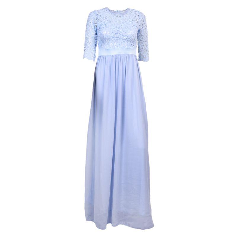 Chiffon Spitze Brautkleid Ballkleid Abendkleid Hochzeitskleid Blau ...