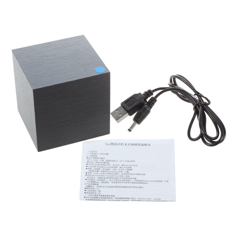 Holz Wuerfel LED Alarm Kontrolle Digital Schreibtisch Uhr Holz Stil Zimmer  D5K8