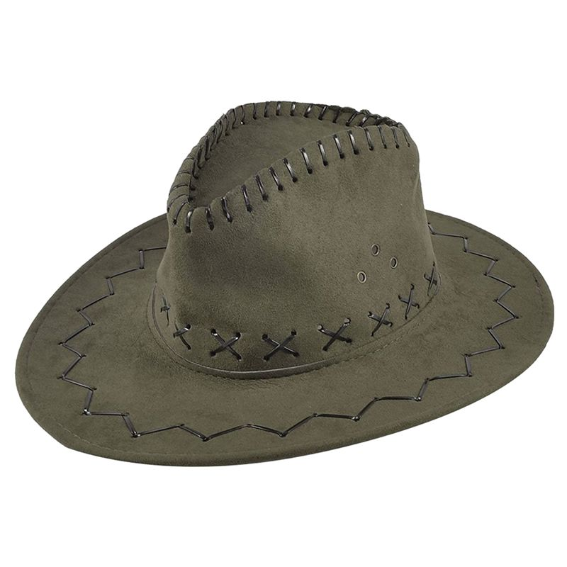 01b47ba167b Adjustable Chin Strap Faux Leather Cowboy Hat Army Green for Man ...