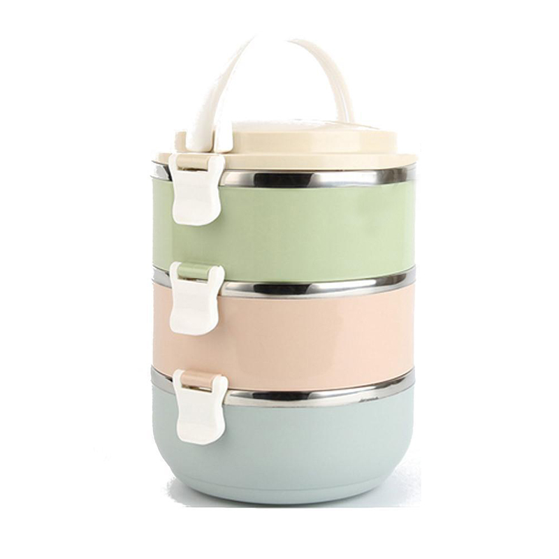 stainless steel thermal insulated lunch box food container round r1a6 ebay. Black Bedroom Furniture Sets. Home Design Ideas