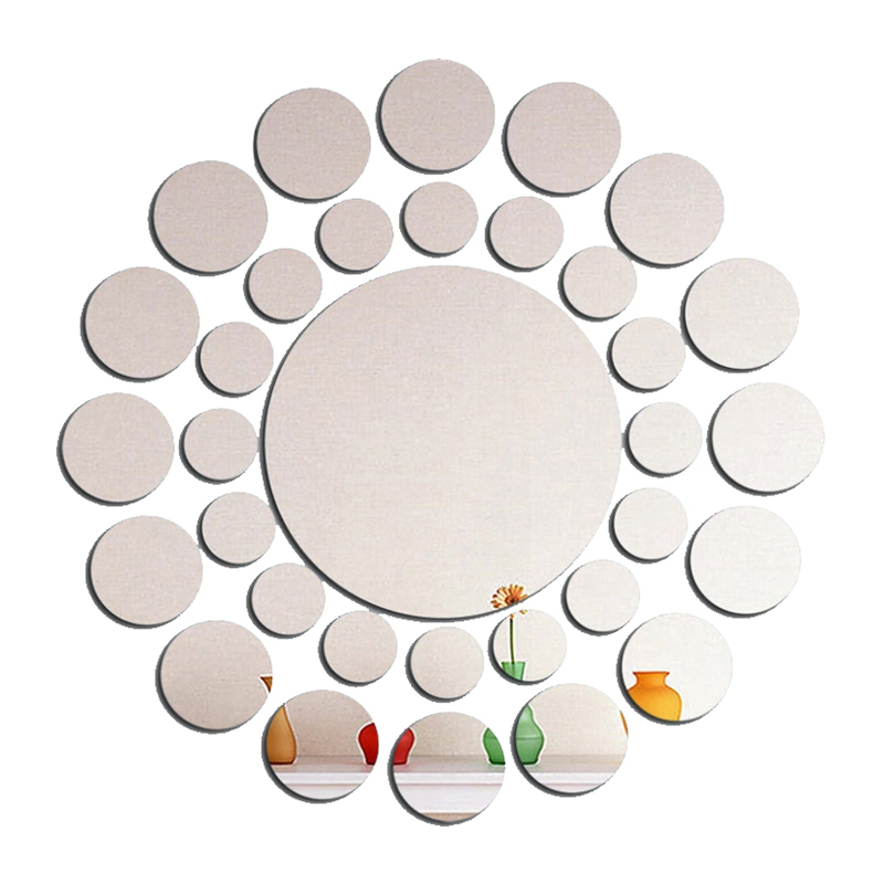 Image Is Loading 33 Pcs Modern 3d Round Mirror Wall Sticker
