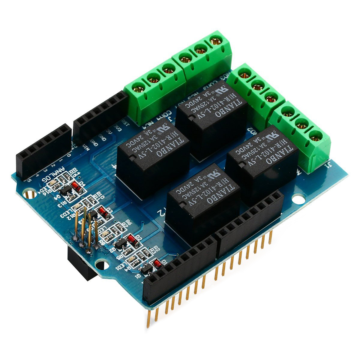 Four Channel Relay Shield 5v 4 4ch Module Screen For Arduino Wiring Solid State Dc X7o7