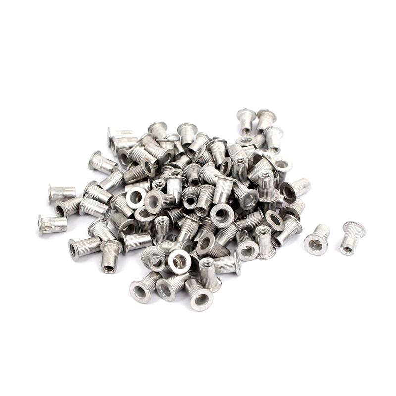 M4 Rivet Nut Aluminum Vertical Stripes Cylindrical Rivets 100 Pieces Y3H8