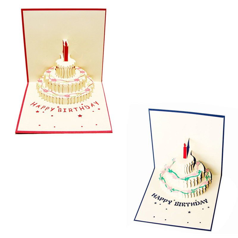 3X 3D Handmade Custom Birthday Invitations Cards Wishes