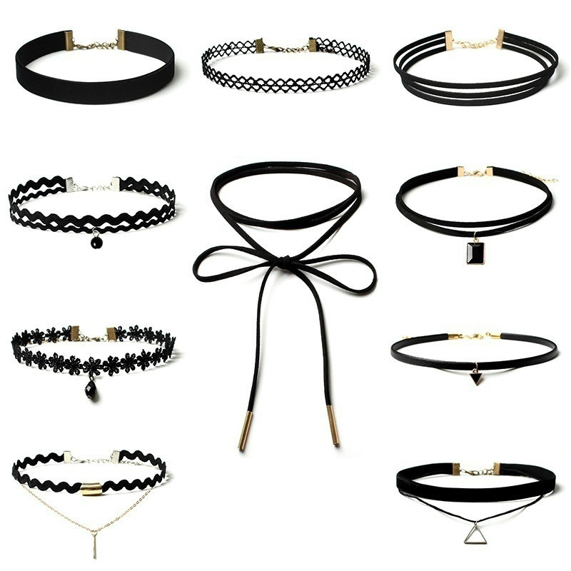 10pcs/Set Women Sexy Black Stretch Lace Velvet Gothic Choker Necklace Jewel G4D4