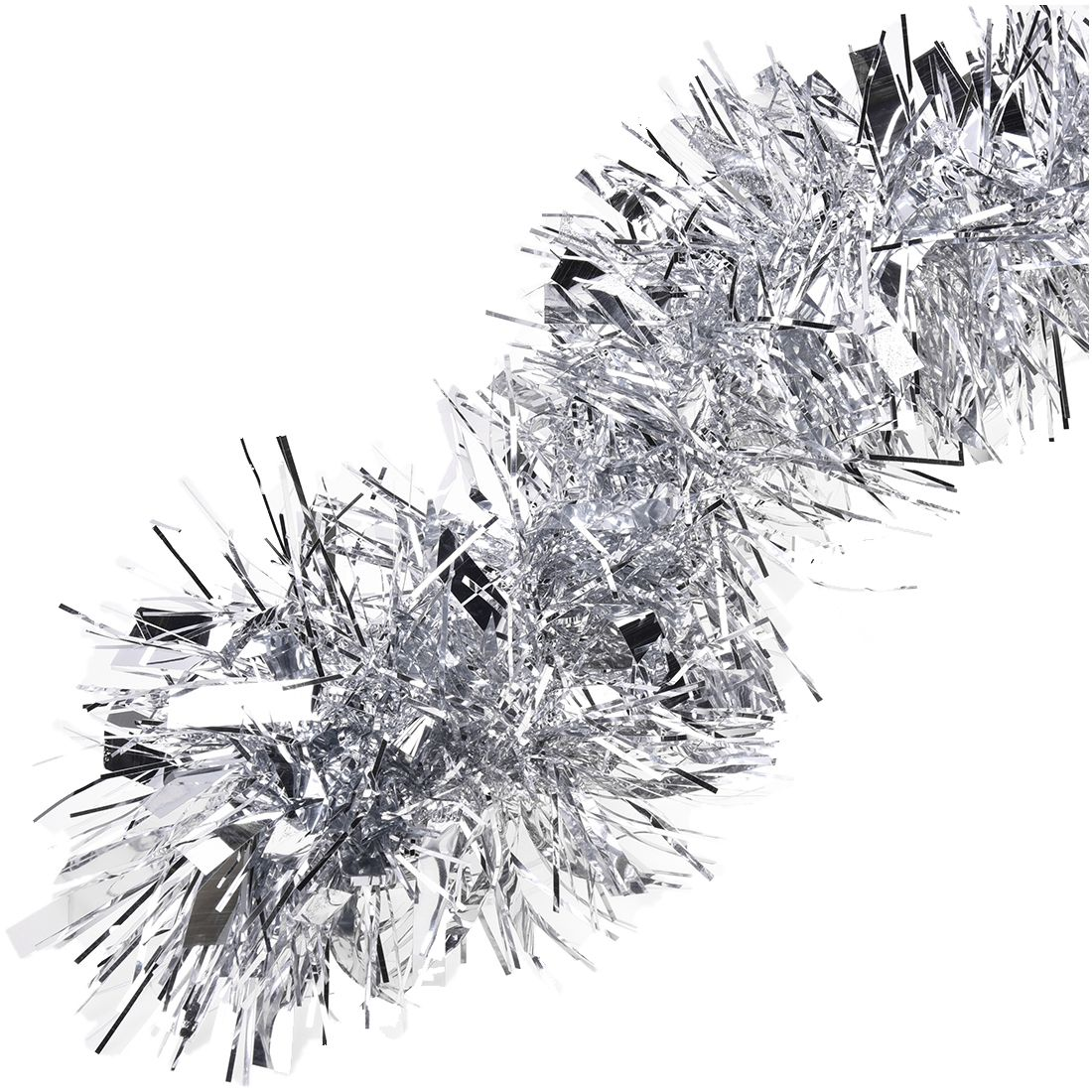 M ft silver christmas tree tinsel garland embossing