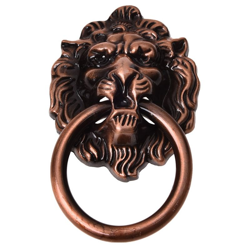 """Antique Style Copper Tone Metal Lion Head Shaped Drawer Pull Handle 2.5"""" L2W2"""