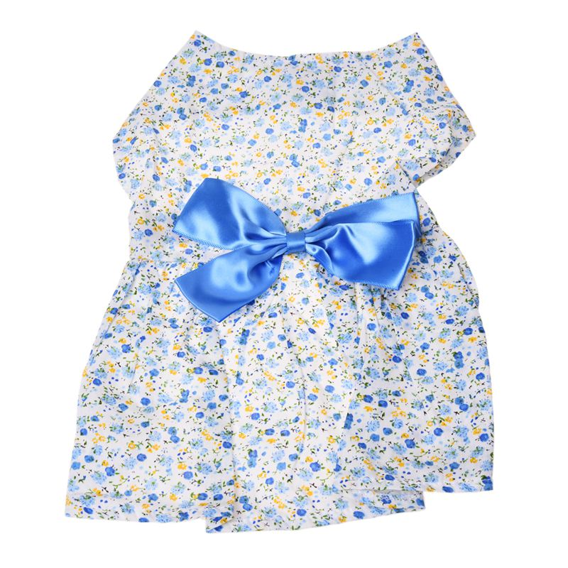 Country-style-Small-floral-pet-dress-Blue-S-Q4W7