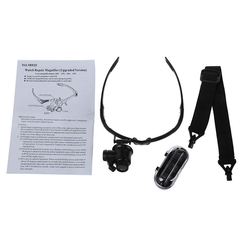 LED-Brillenlupe-Kopflupe-Lupenbrille-Vergroesserung-Lupe-mit-Licht-10x-15x-20-G5 Indexbild 5