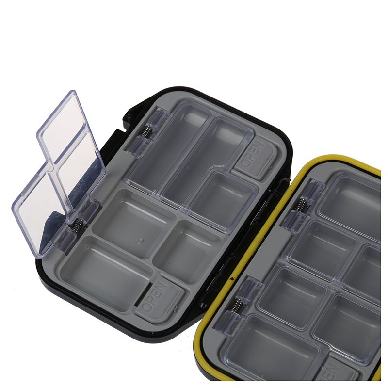 Fishing Lure Bait Tackle Waterproof Storage Box Case With 12 Compartments Black