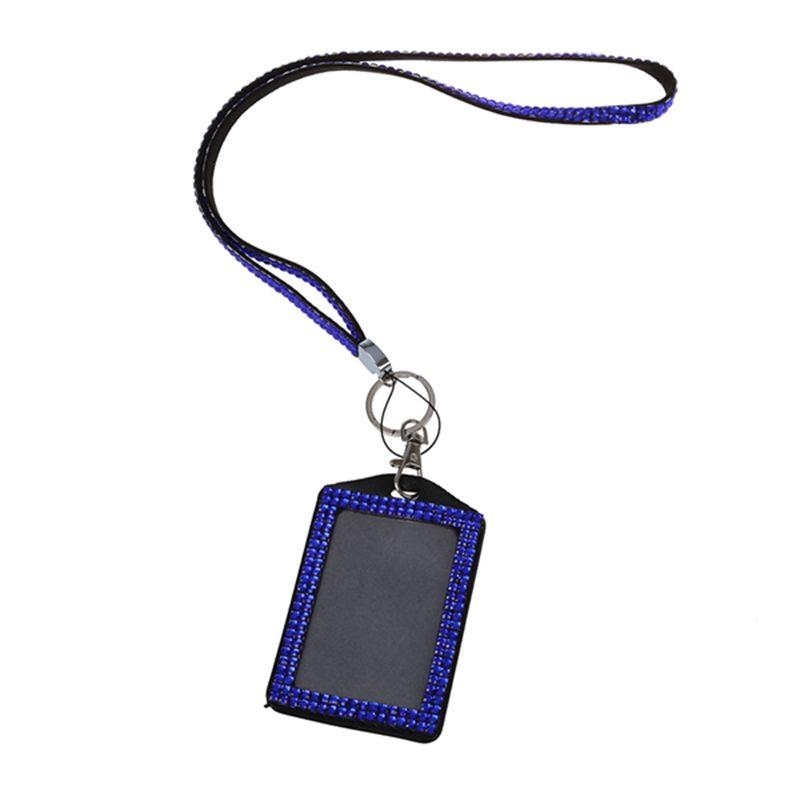 Rhinestone-Bling-Crystal-Custom-Lanyard-Vertical-ID-Badge-Holder-I9O6 thumbnail 12