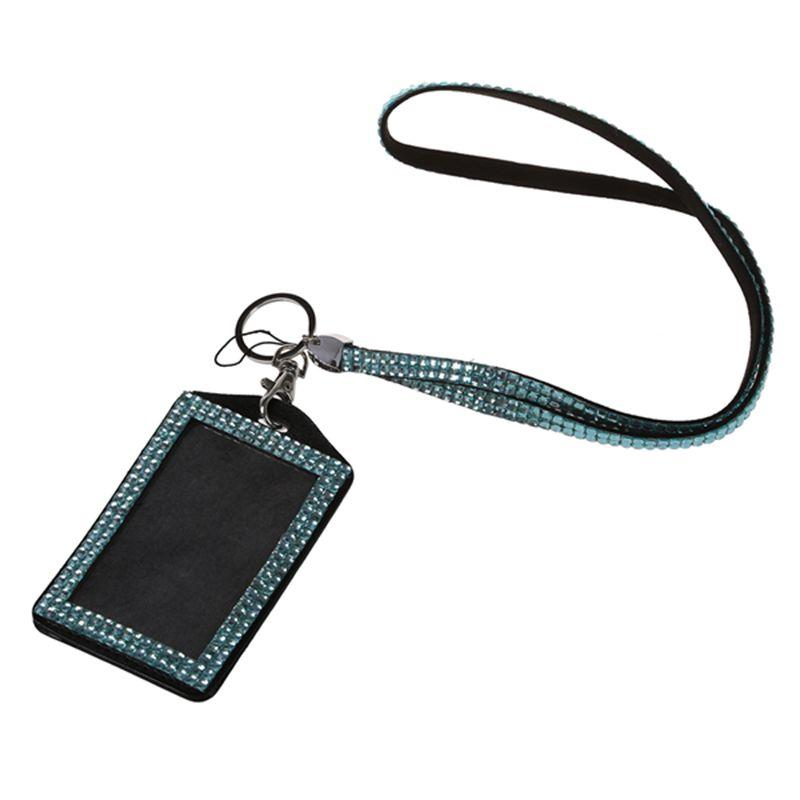 Rhinestone-Bling-Crystal-Custom-Lanyard-Vertical-ID-Badge-Holder-I9O6 thumbnail 19