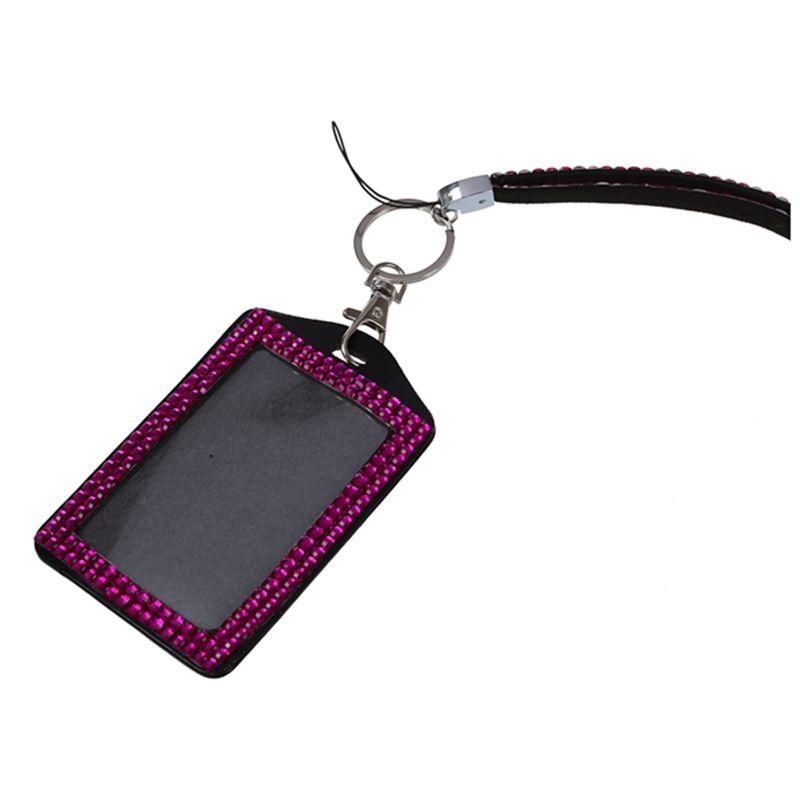 Rhinestone-Bling-Crystal-Custom-Lanyard-Vertical-ID-Badge-Holder-I9O6 thumbnail 31