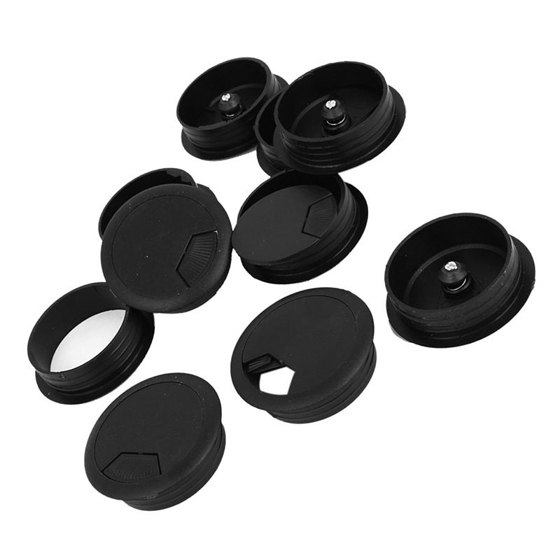 10 Pcs Home Office Desk Table Computer 60mm Cable Cord Grommet Hole Gray O4V1