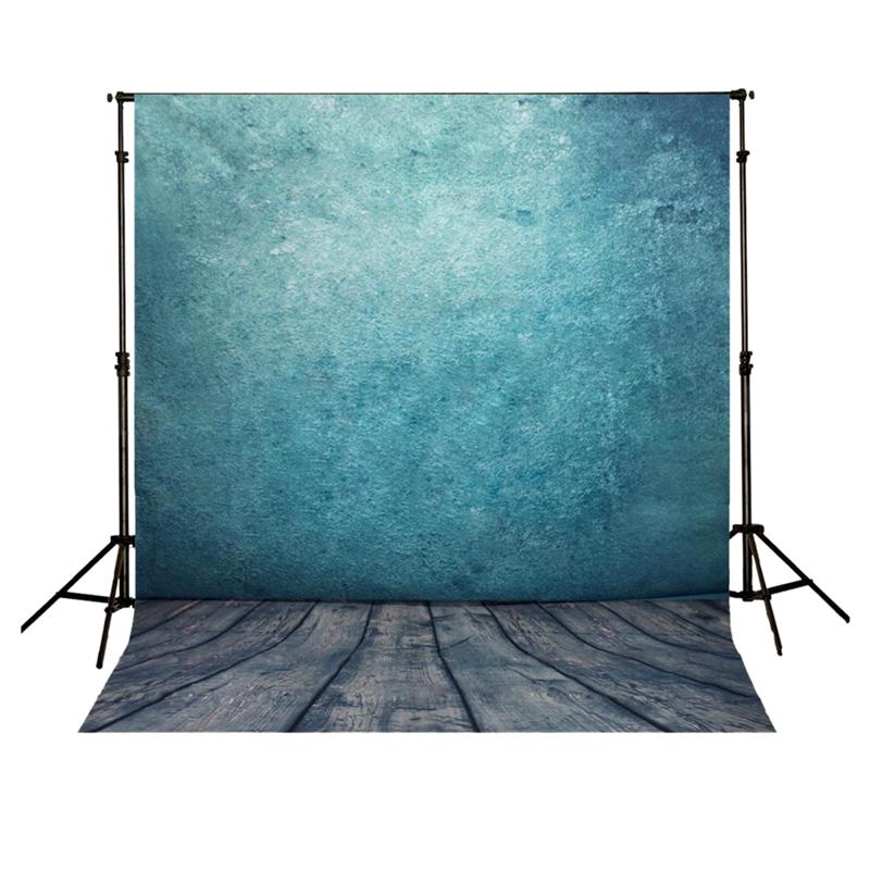 5x7FT Vinyl Photography Backdrop Photo Background, Blue wall wood floor S4S1