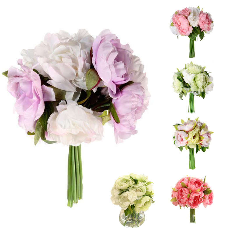 10 Heads Artificial Peony Cloth Bridal Wedding Flowers Bouquets ...
