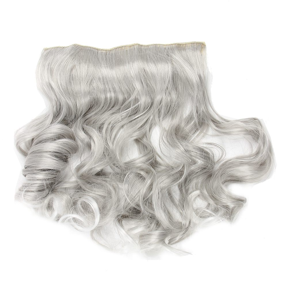 Silver Gray Curly Clip In Hair Extensions Grandma Hairpieces Y5m4 Ebay