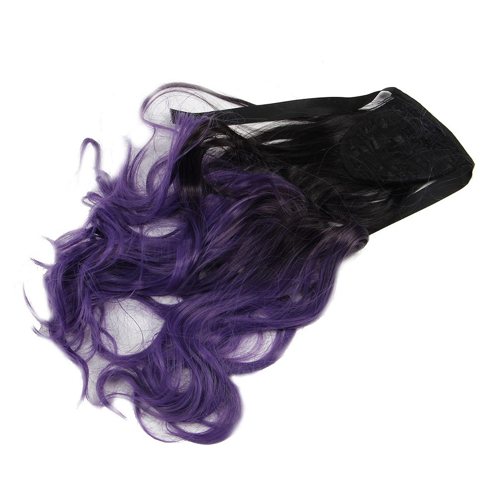 Blackpurple Ombre Ponytail Clip Hair Tail Colored Body Wave Hair