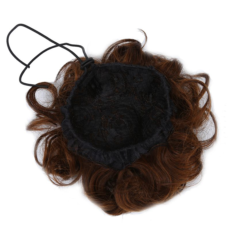 Wavy Curly Synthetic Hair Bun Cover Hairpiece Clip In Scrunchie Hair