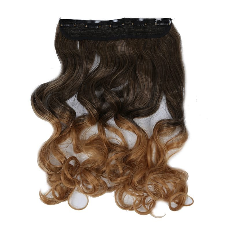 Fashion 1pc 5clips In On Dip Dye Hairpieces Ombre Synthetic Hair