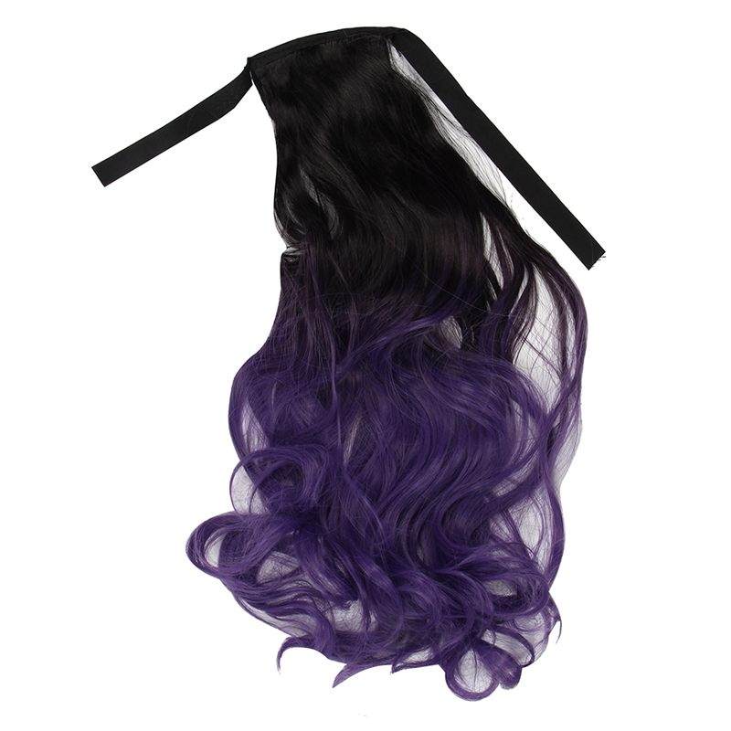 Ombre Ponytail Clip In Hair Tail Colored Curly Body Wave Hair