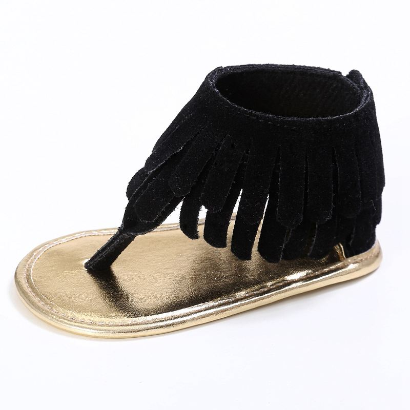 bbdfaa5211e81 Details about Tassel Summer Baby Sandals Soft Sole Pu Child Girls Shoes  Black M Z9J6