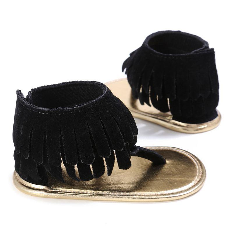 03baf0e2356 Tassel Summer Baby Sandals Soft Sole Pu Child Girls Shoes Black L ...