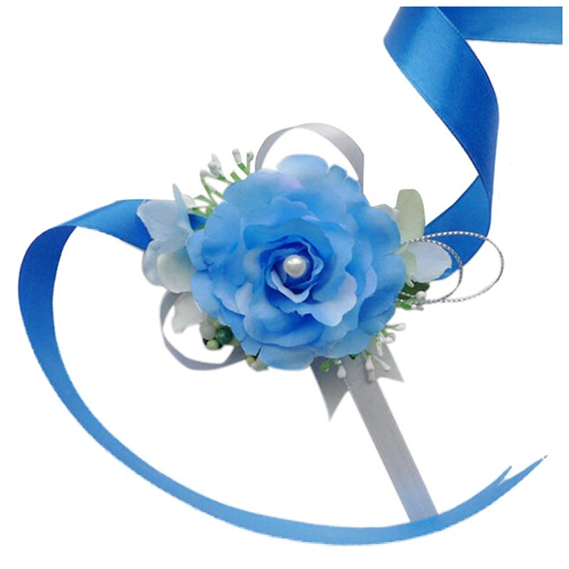 Wrist-Corsage-Bracelet-Bridesmaid-Hand-Flower-Wedding-Party-dark-blue-M3Q1 thumbnail 48