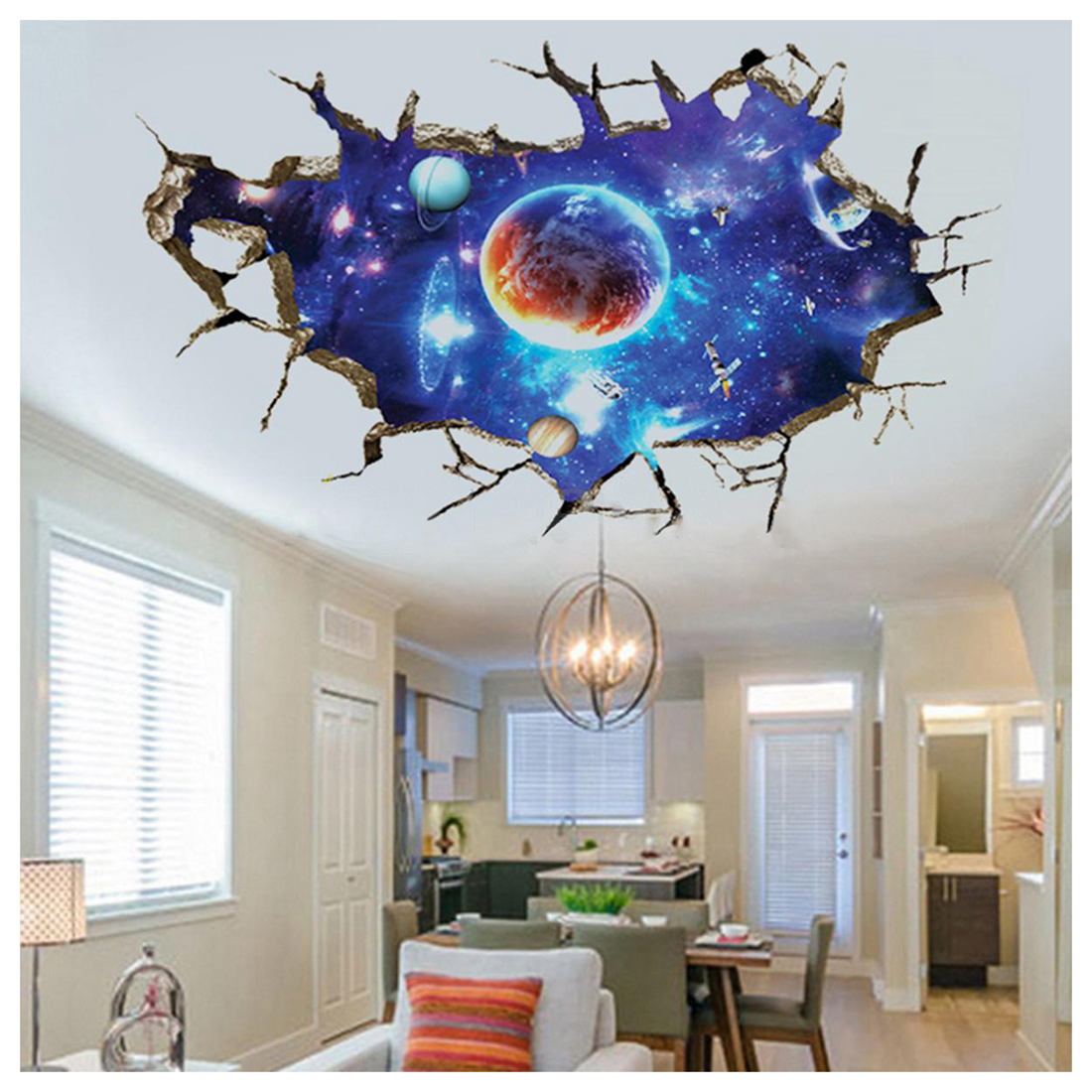 3d outer space planet wall stickers home decor mural art for Outer space home decor