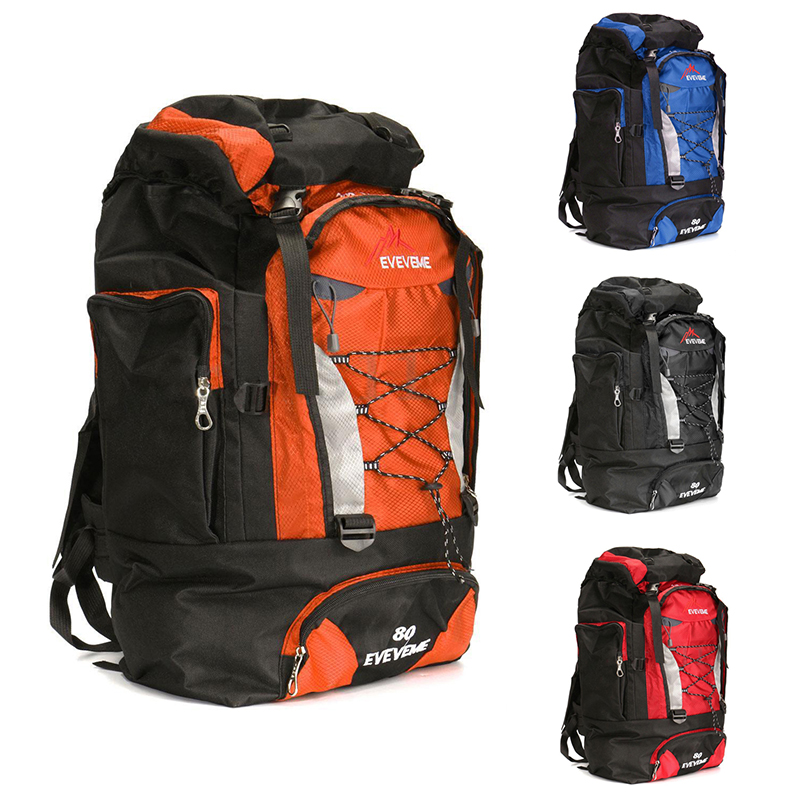 Image is loading EVEVEME-80L-Load-Waterproof-Rucksack-Backpack-Bag-Luggage- ed3dc183c8