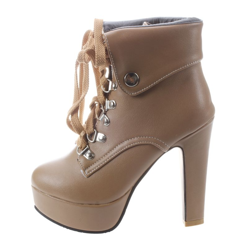 Platform-High-Heel-Ankle-Boots-for-Women-Fashion-Lace-Up-Booties-Brown-34-Z8L1 thumbnail 3