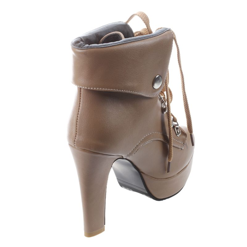 Platform-High-Heel-Ankle-Boots-for-Women-Fashion-Lace-Up-Booties-Brown-34-Z8L1 thumbnail 4