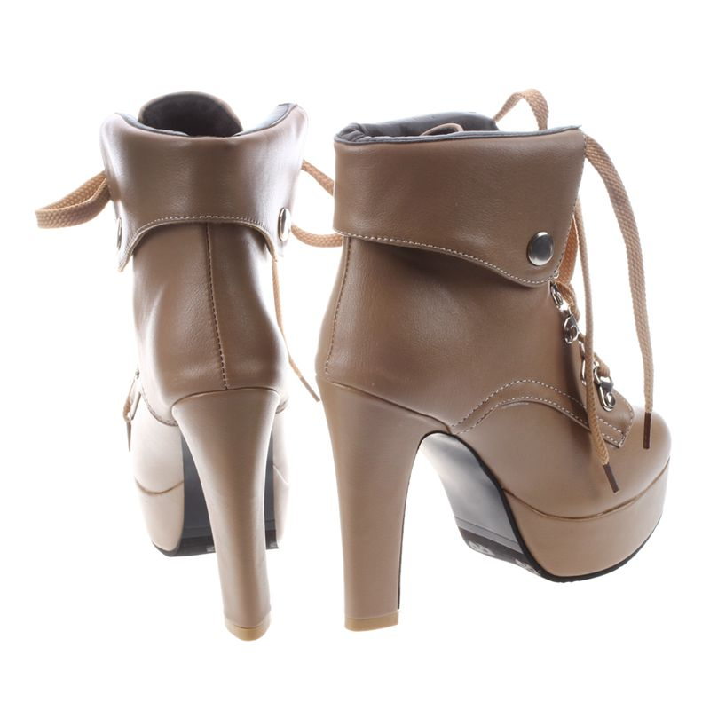 Platform-High-Heel-Ankle-Boots-for-Women-Fashion-Lace-Up-Booties-Brown-34-Z8L1 thumbnail 7
