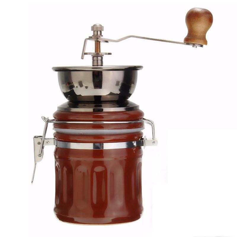 Retro stainless steel ceramic manual coffee bean grinder nut mill.